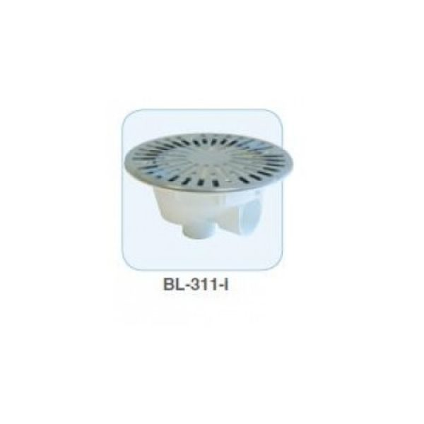 BB-310 - Bonde de fond, sortie latérale en diam 50 ou diam 63 à coller, avec grille en inox
